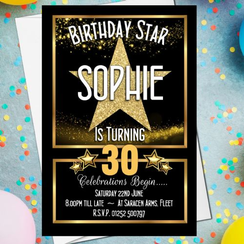 10 Personalised Star Sparkle Birthday Party Invitations N223